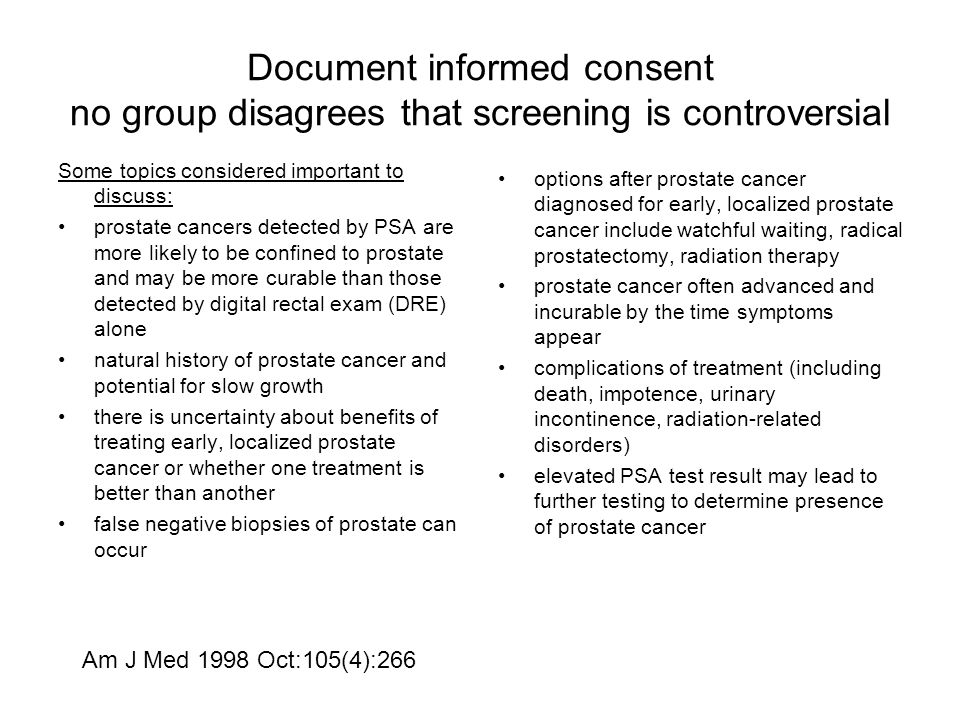 Document informed consent no group disagrees that screening is controversial