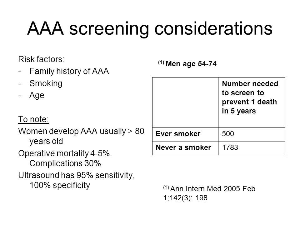 AAA screening considerations