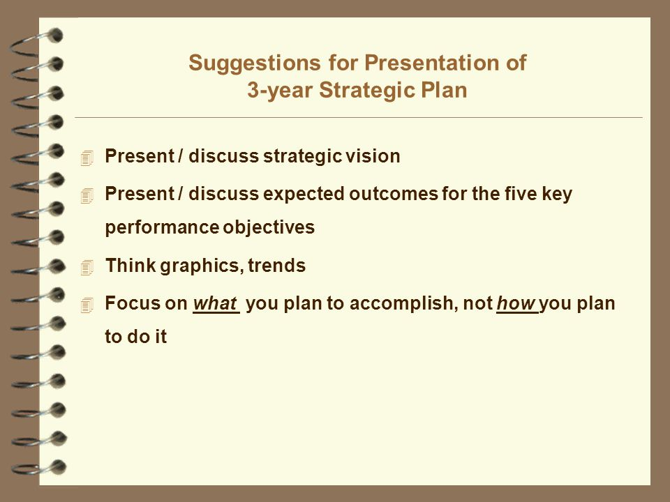 Suggestions for Presentation of 3-year Strategic Plan