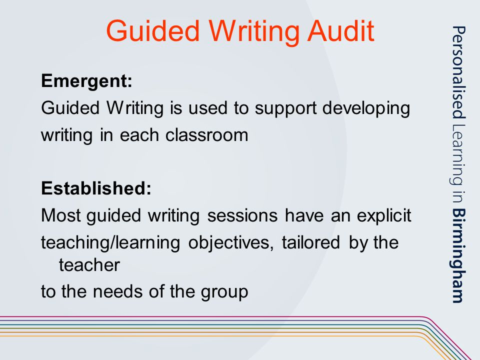Guided Writing Audit Emergent: