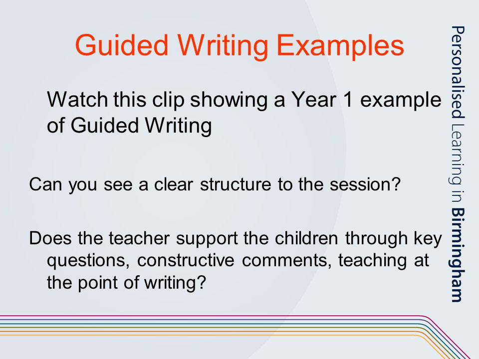 Guided Writing Examples