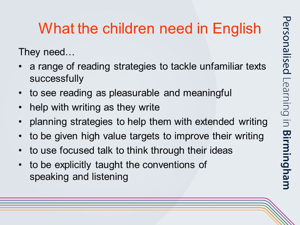 What the children need in English