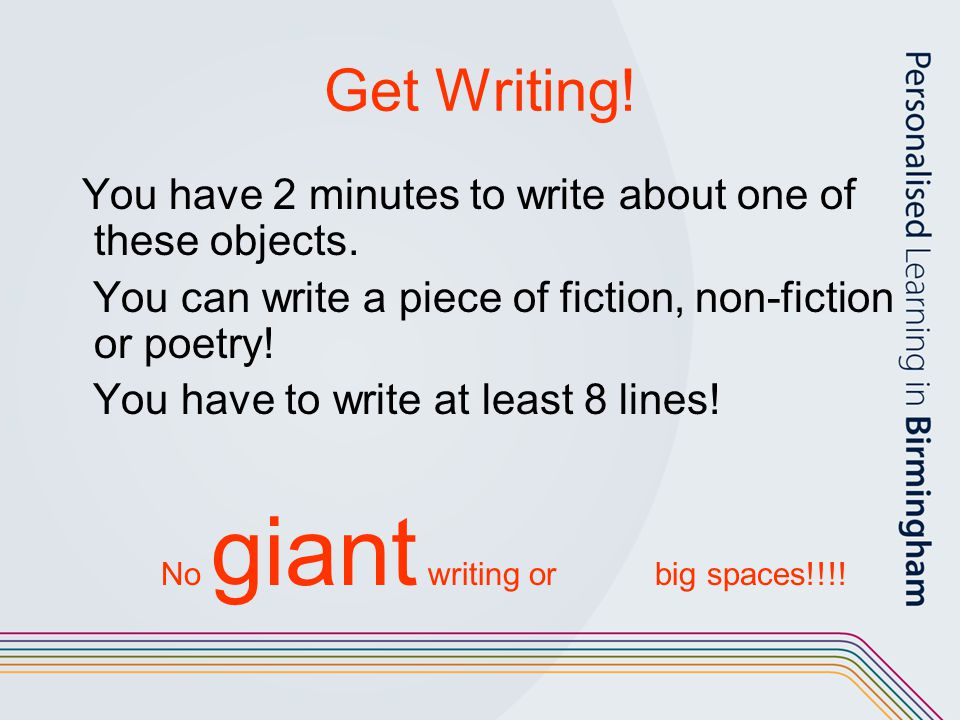 No giant writing or big spaces!!!!