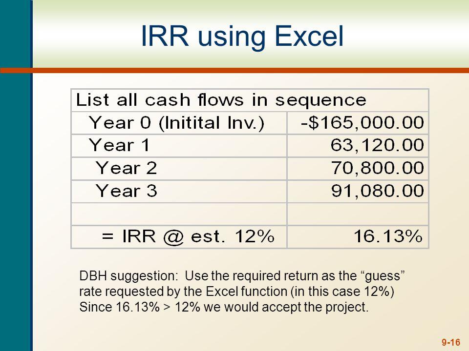Decision Criteria Test - IRR