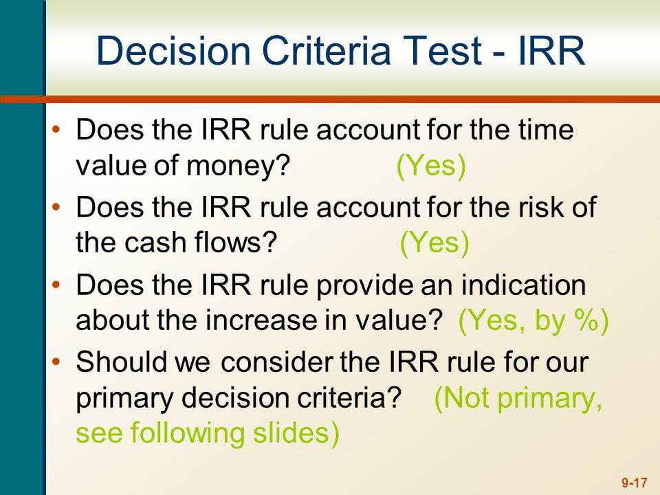 Advantages of IRR Knowing a return is intuitively appealing