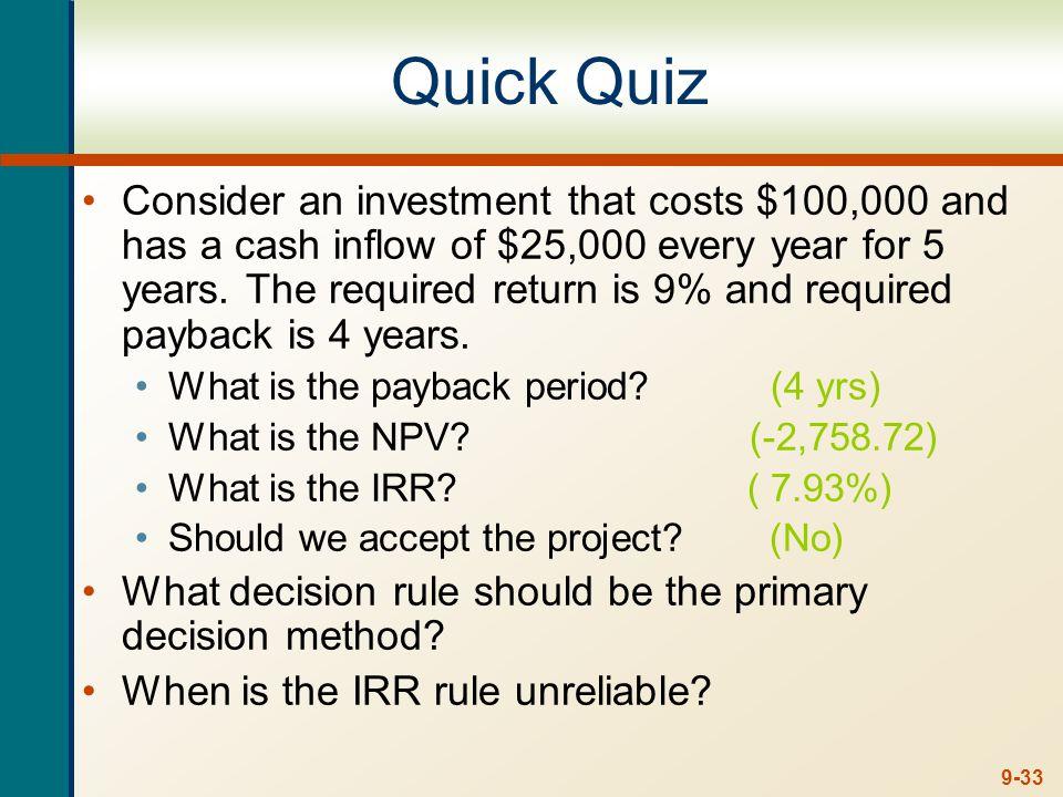 Quiz using Excel Year 0 -$100,000 Year 1 $25,000 Year 2 Year 3 Year 4