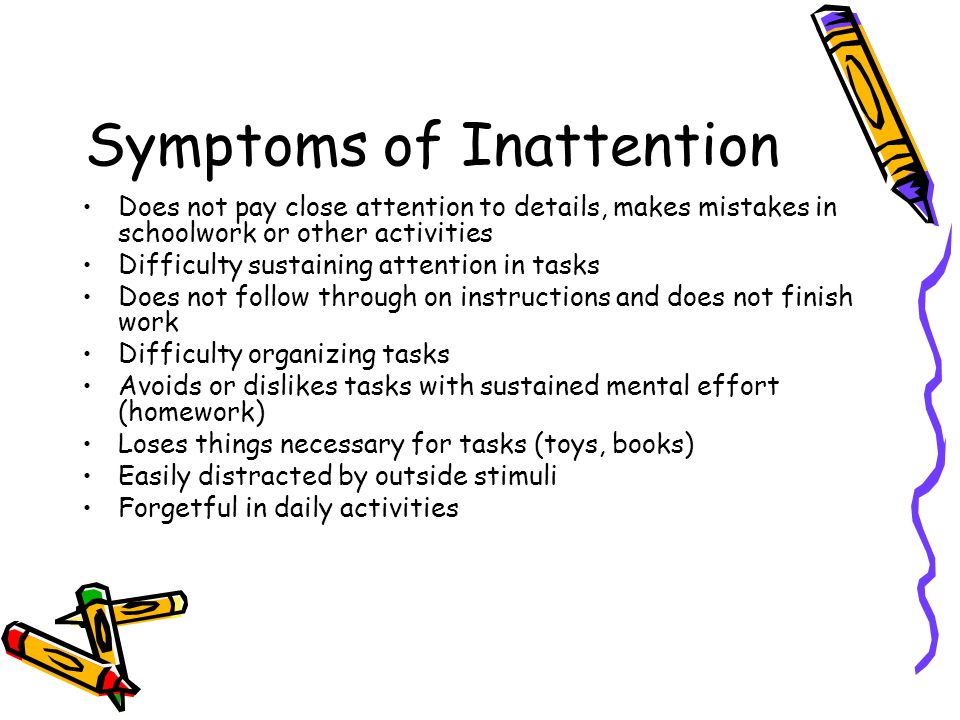 Symptoms of Inattention
