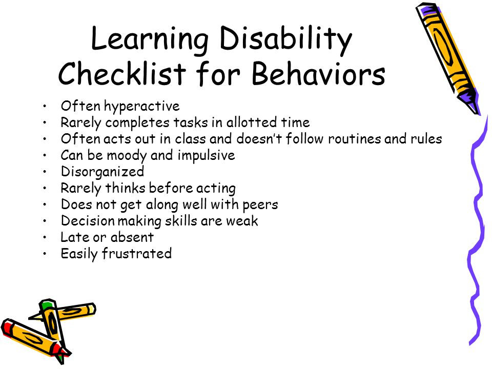 Learning Disability Checklist for Behaviors