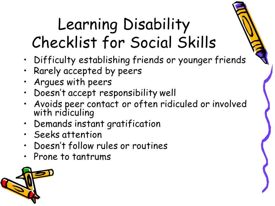 Learning Disability Checklist for Social Skills