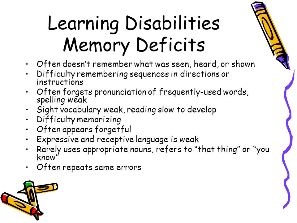 Learning Disabilities Memory Deficits