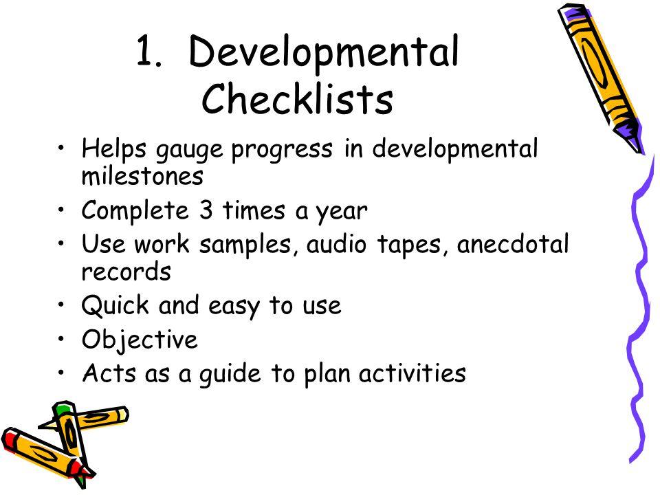 1. Developmental Checklists