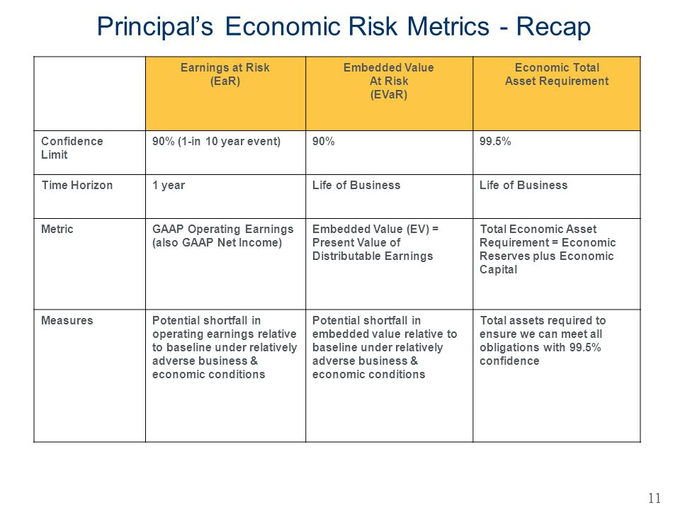 Principal's Economic Risk Metrics - Recap