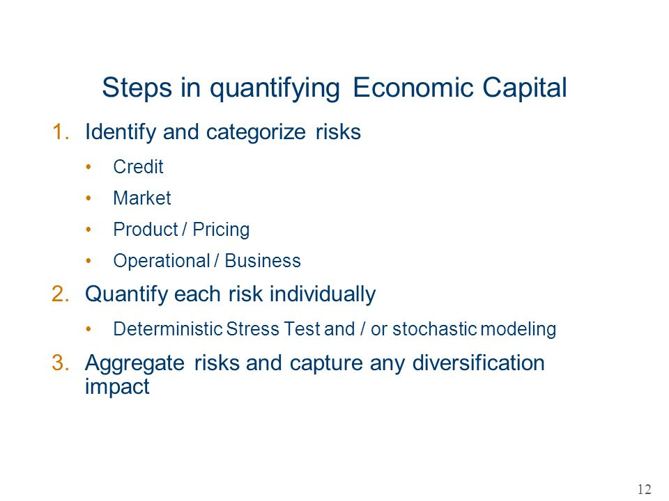 Steps in quantifying Economic Capital