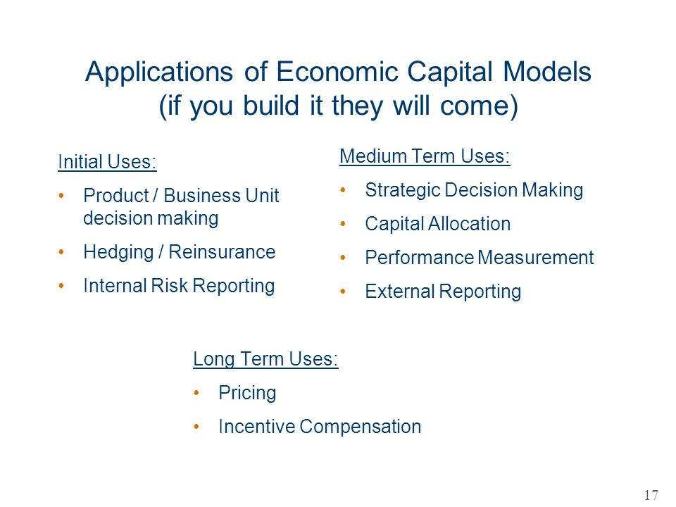 Applications of Economic Capital Models (if you build it they will come)