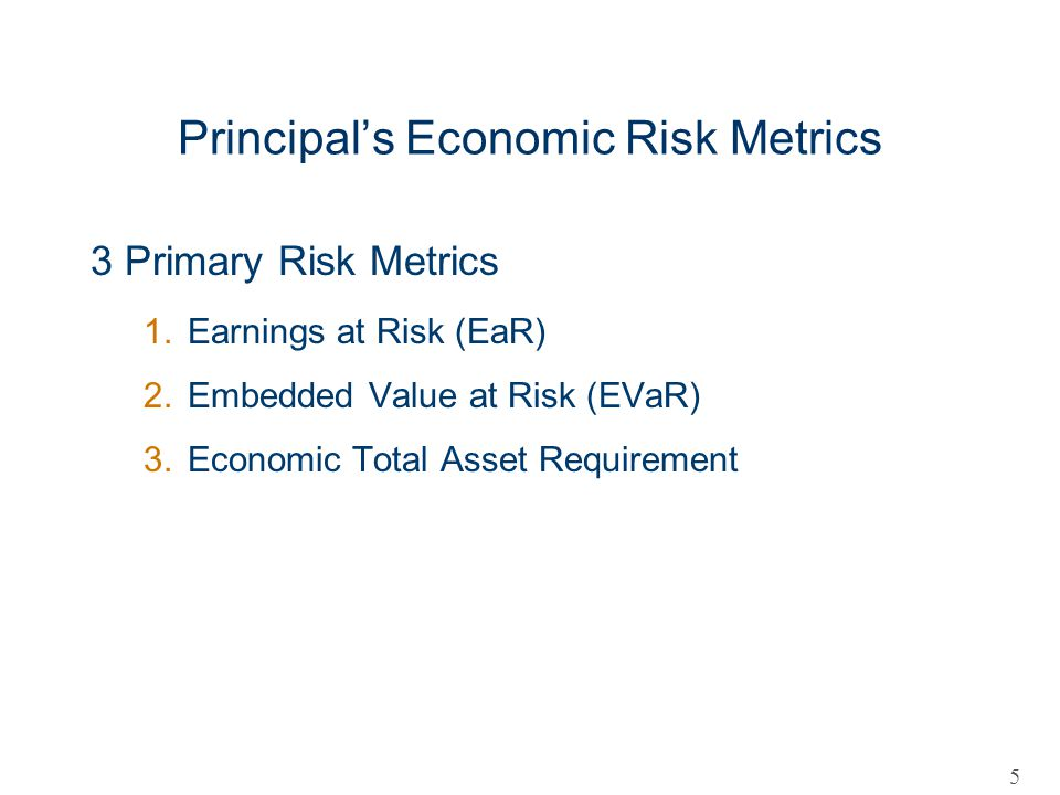 Principal's Economic Risk Metrics