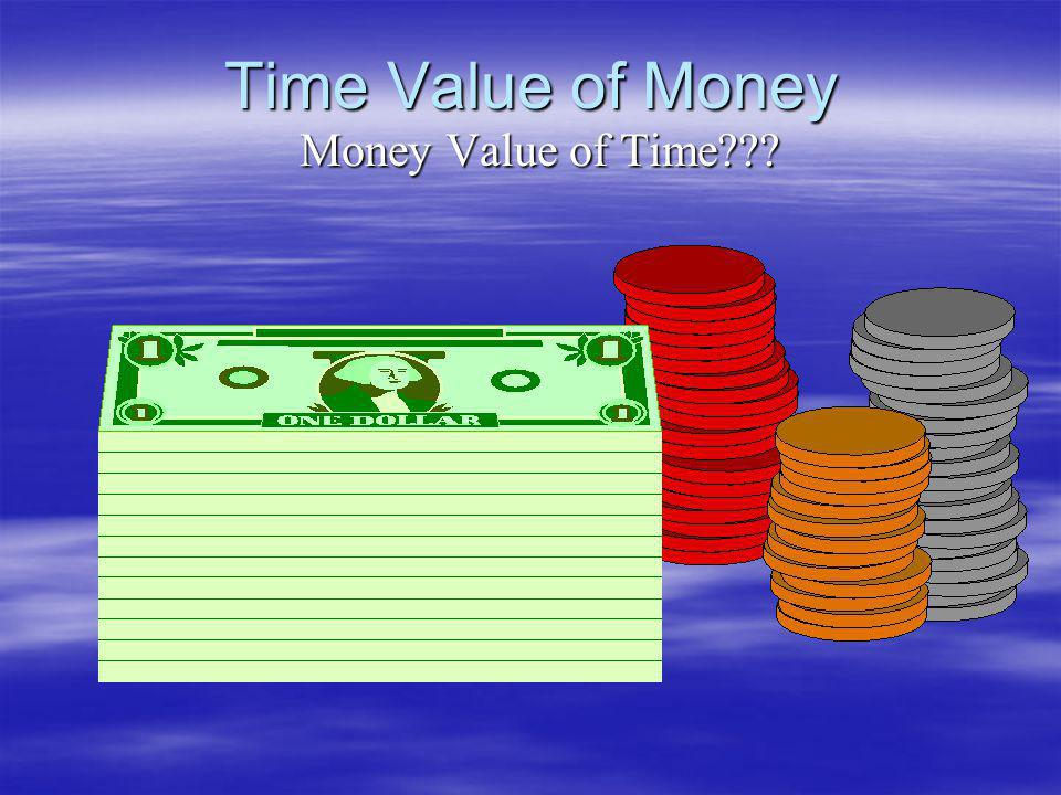 Time Value of Money Money Value of Time
