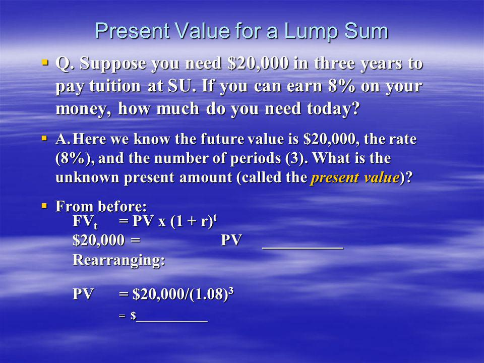 Present Value for a Lump Sum