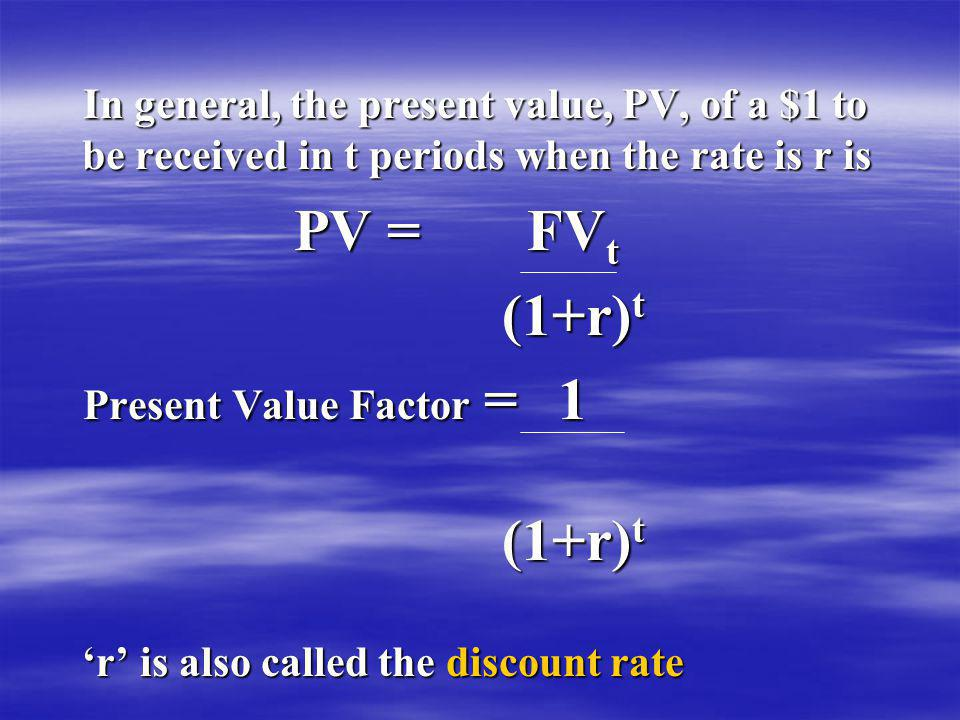 In general, the present value, PV, of a $1 to be received in t periods when the rate is r is