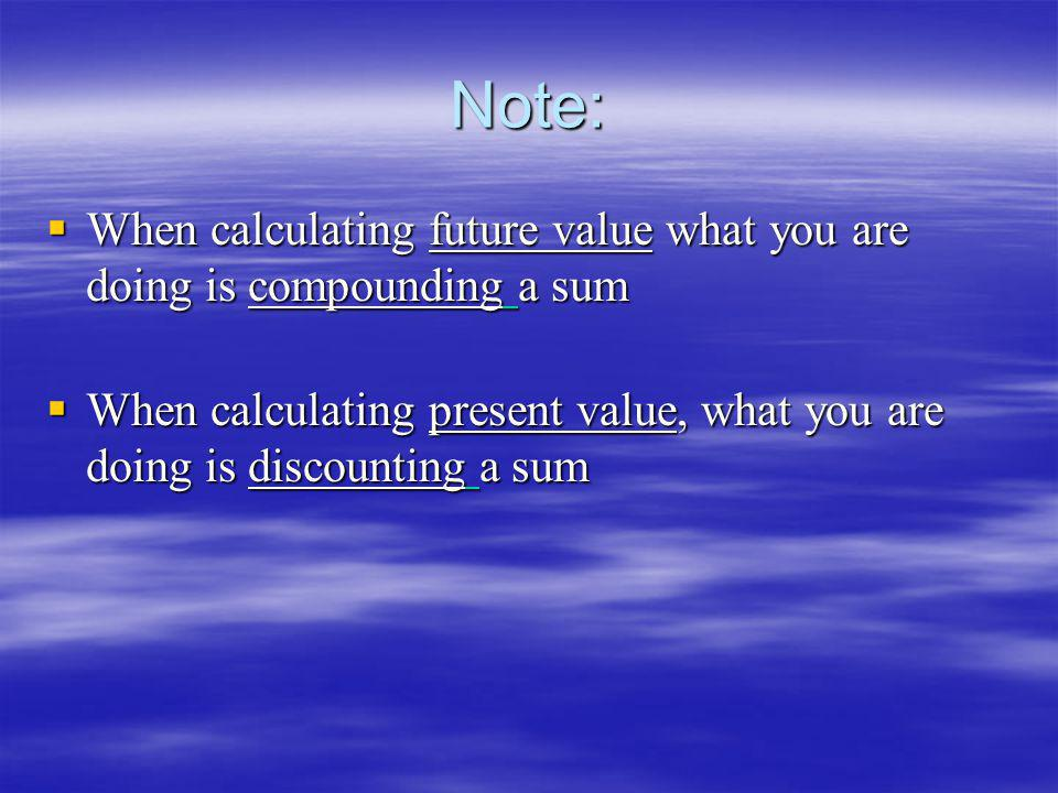 Note: When calculating future value what you are doing is compounding a sum.