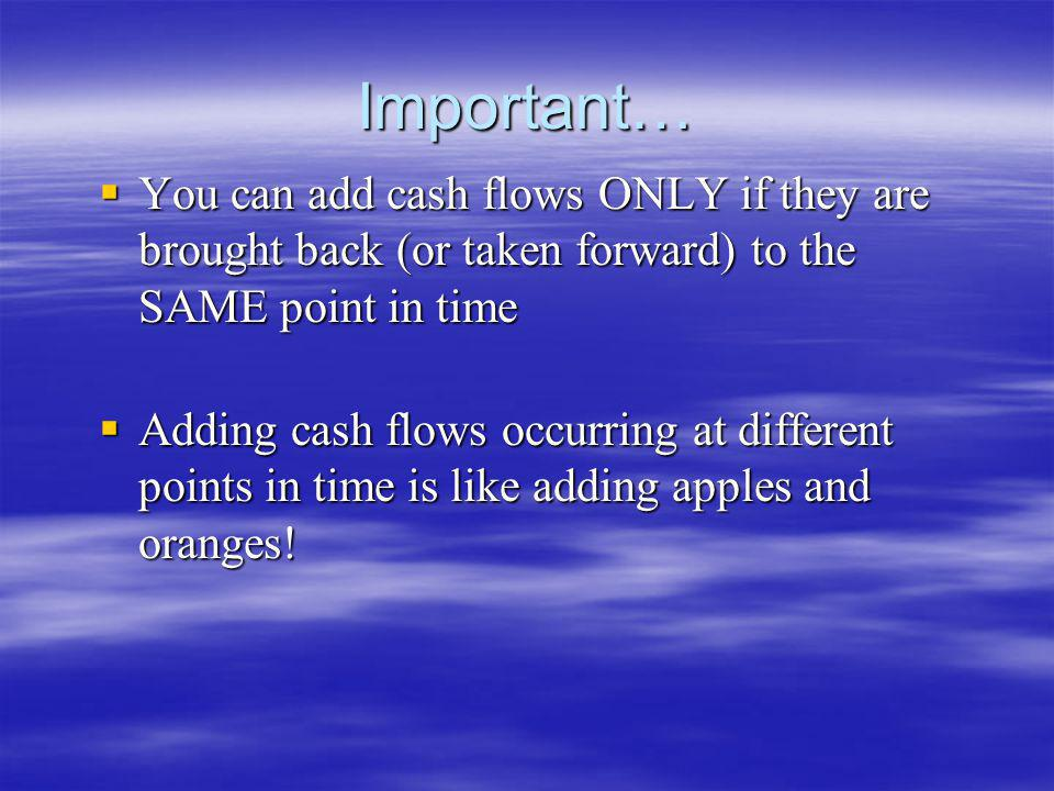 Important… You can add cash flows ONLY if they are brought back (or taken forward) to the SAME point in time.