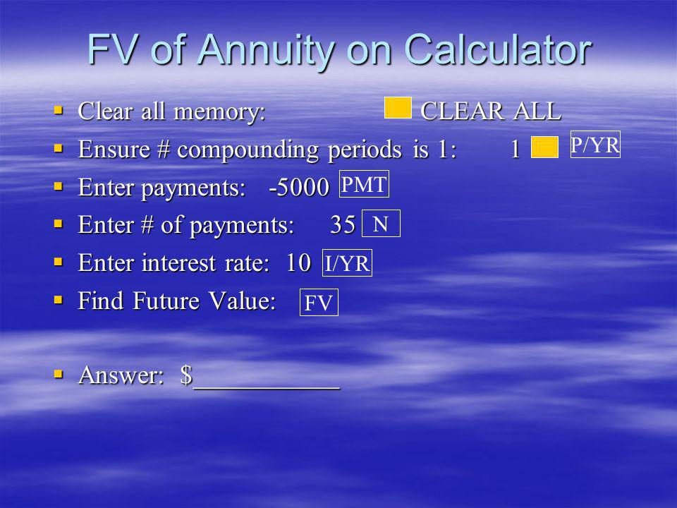 FV of Annuity on Calculator