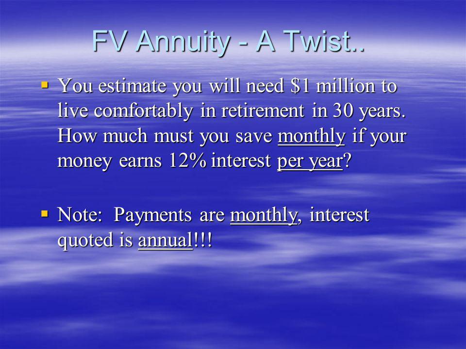 FV Annuity - A Twist..