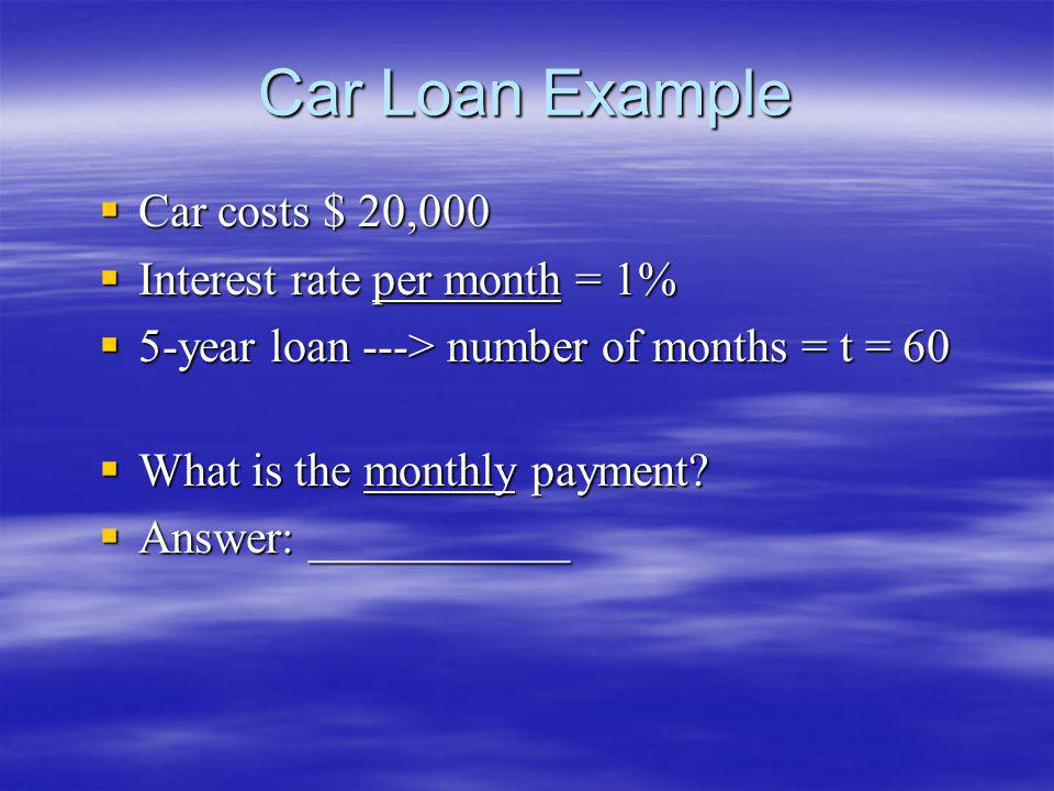 Car Loan Example Car costs $ 20,000 Interest rate per month = 1%