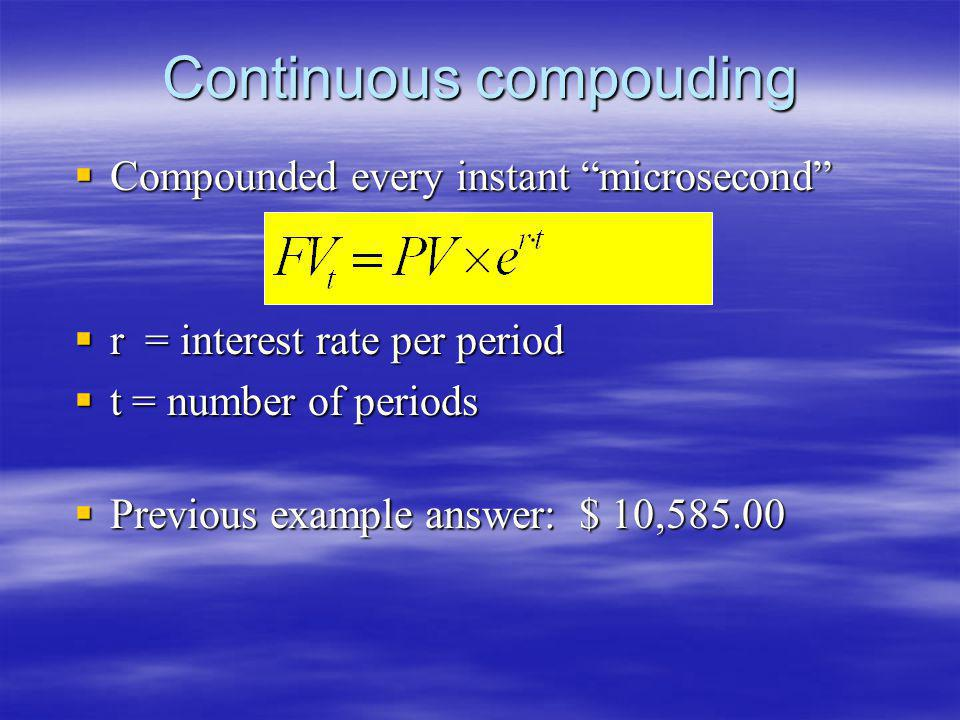 Continuous compouding