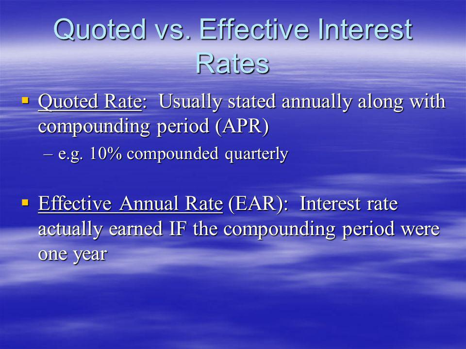 Quoted vs. Effective Interest Rates