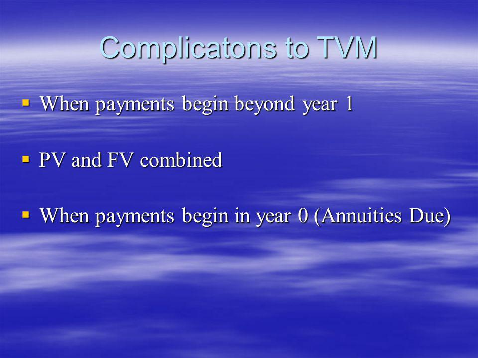 Complicatons to TVM When payments begin beyond year 1