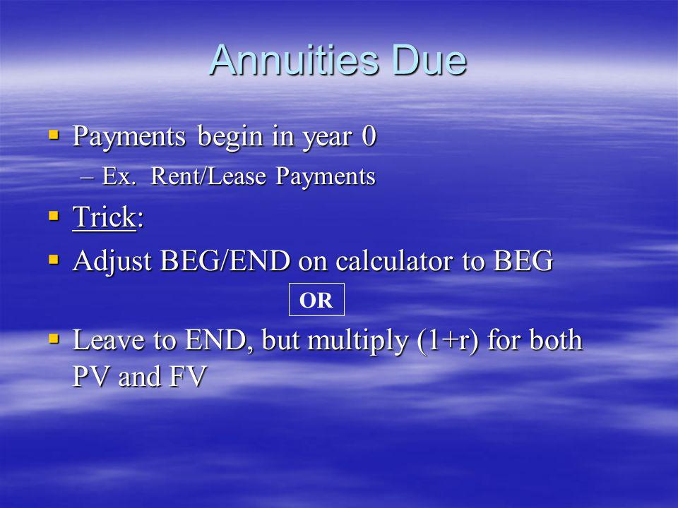 Annuities Due Payments begin in year 0 Trick: