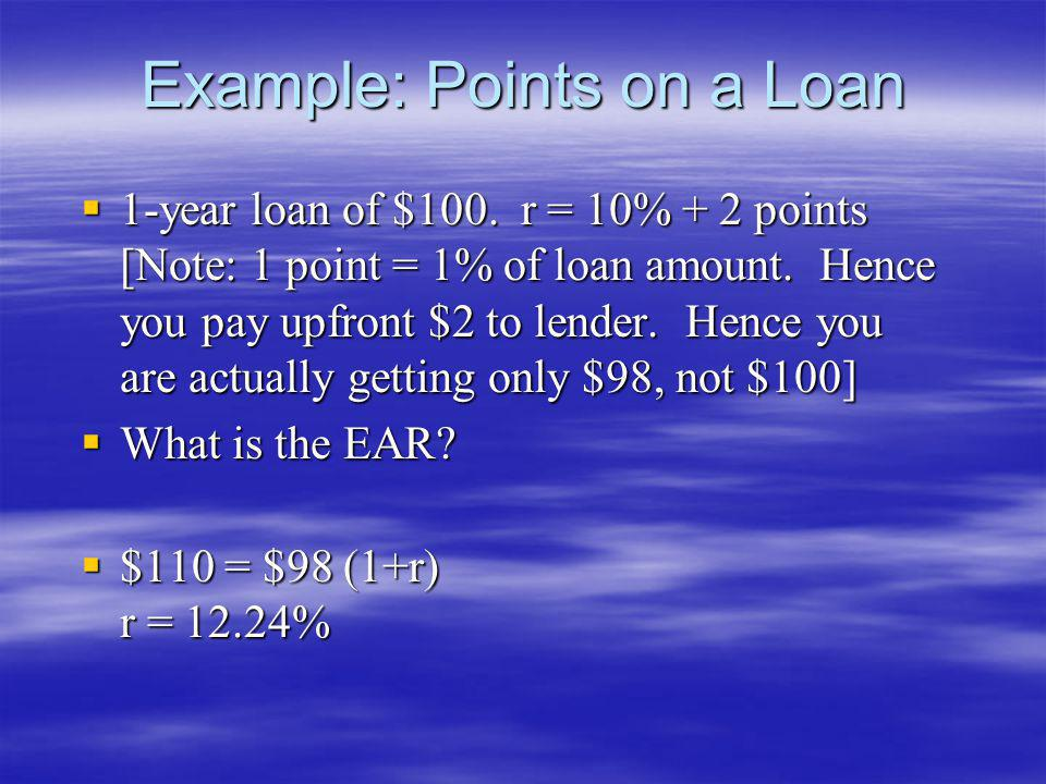 Example: Points on a Loan