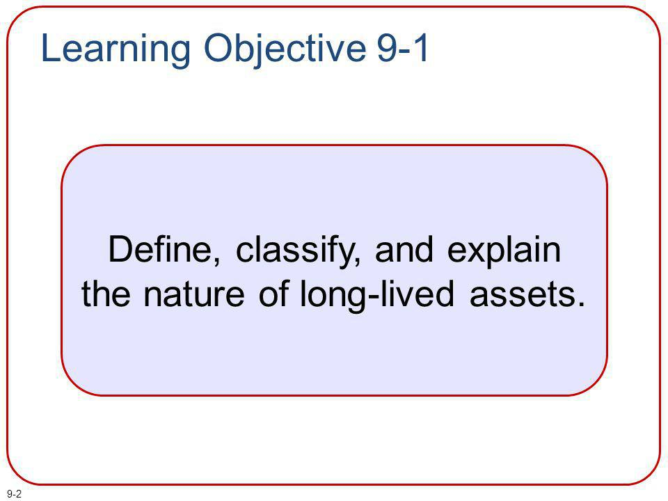 Define, classify, and explain the nature of long-lived assets.