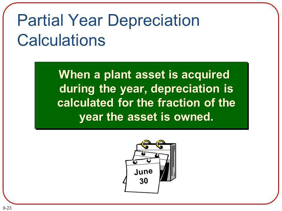 Partial Year Depreciation Calculations