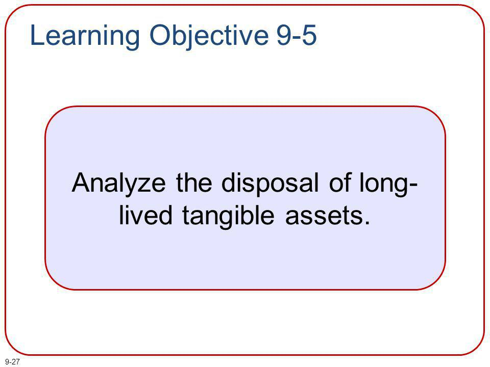 Analyze the disposal of long-lived tangible assets.