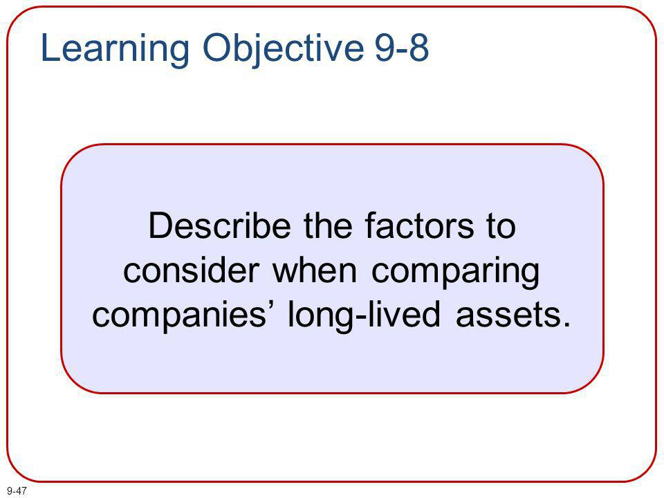Learning Objective 9-8 Describe the factors to consider when comparing companies' long-lived assets.