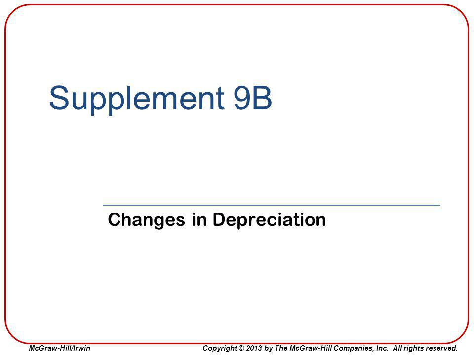 Changes in Depreciation