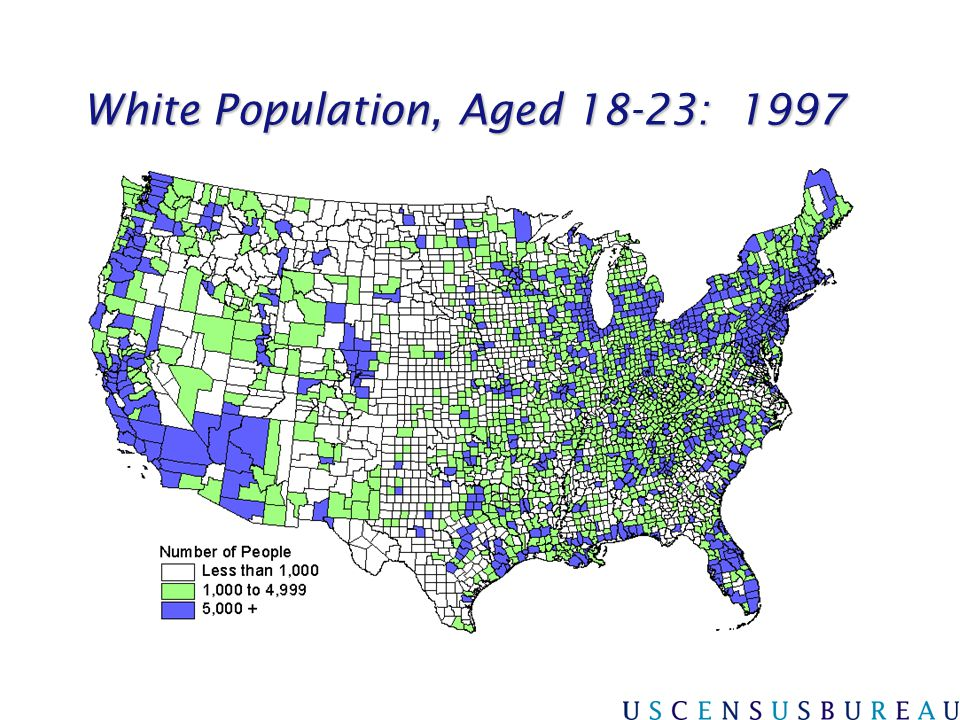 White Population, Aged 18-23: 1997
