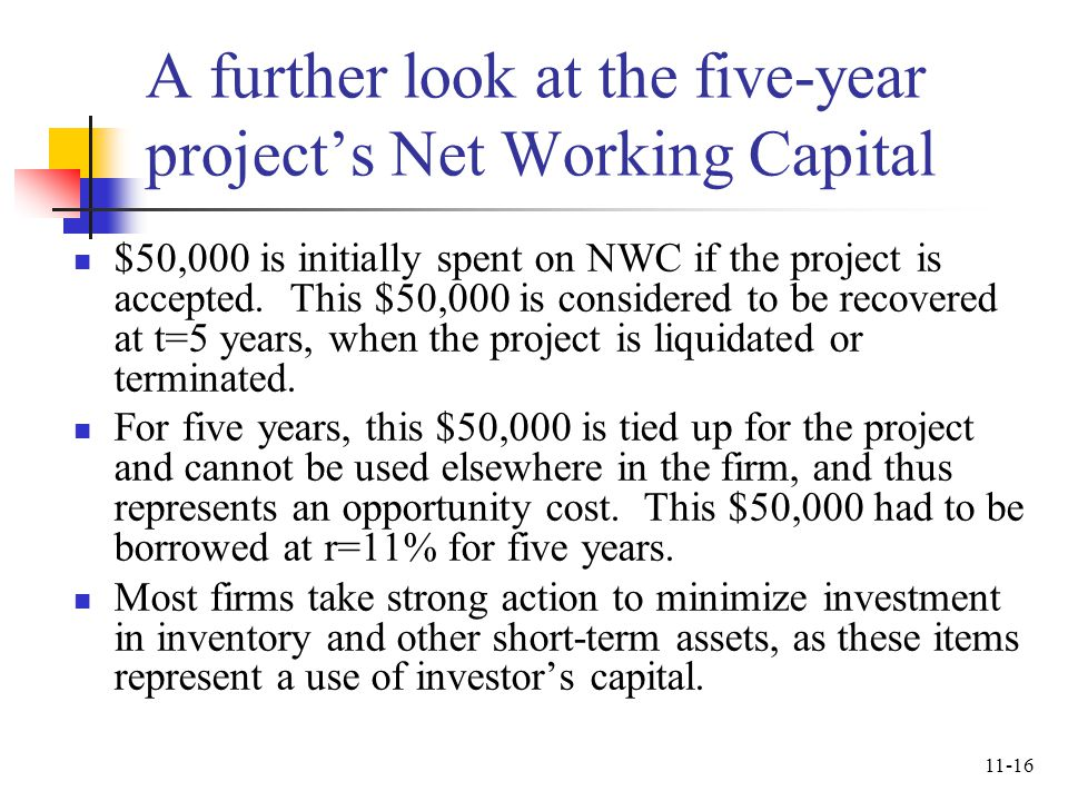 A further look at the five-year project's Net Working Capital