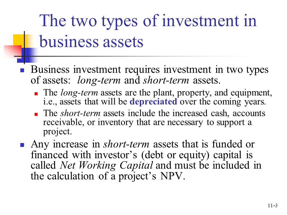 The two types of investment in business assets
