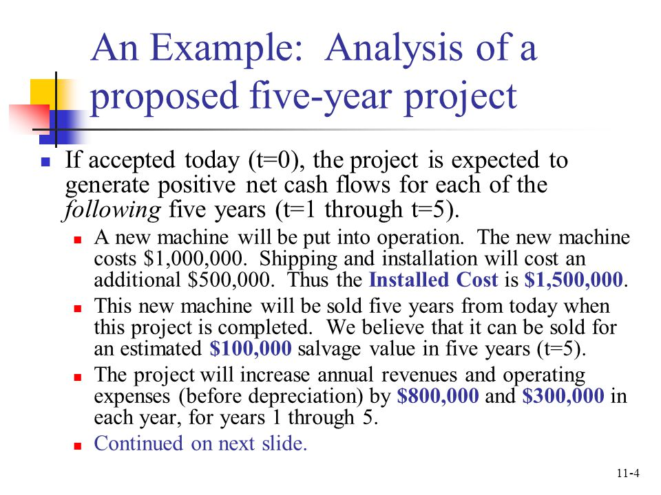 An Example: Analysis of a proposed five-year project