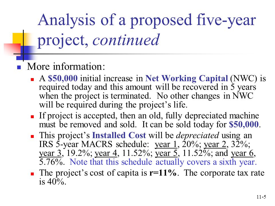 Analysis of a proposed five-year project, continued