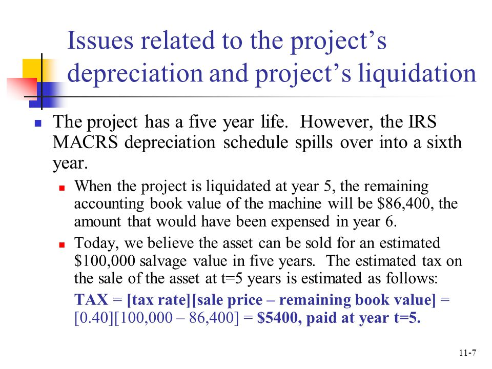 Issues related to the project's depreciation and project's liquidation