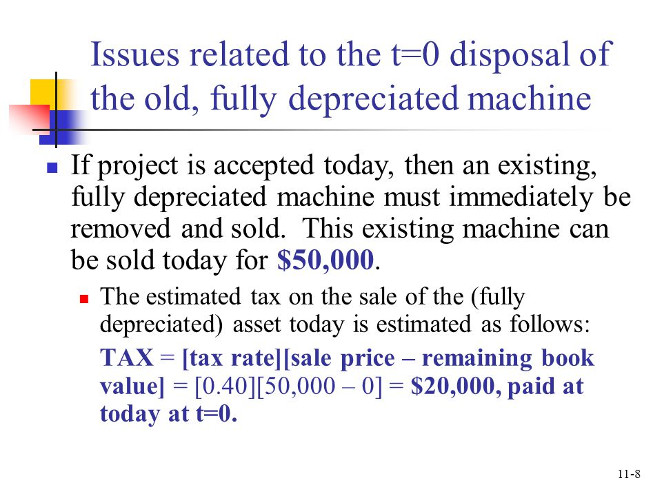 Issues related to the t=0 disposal of the old, fully depreciated machine