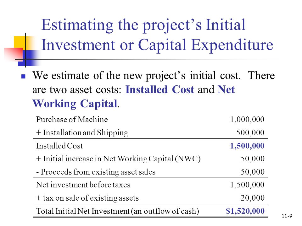 Estimating the project's Initial Investment or Capital Expenditure