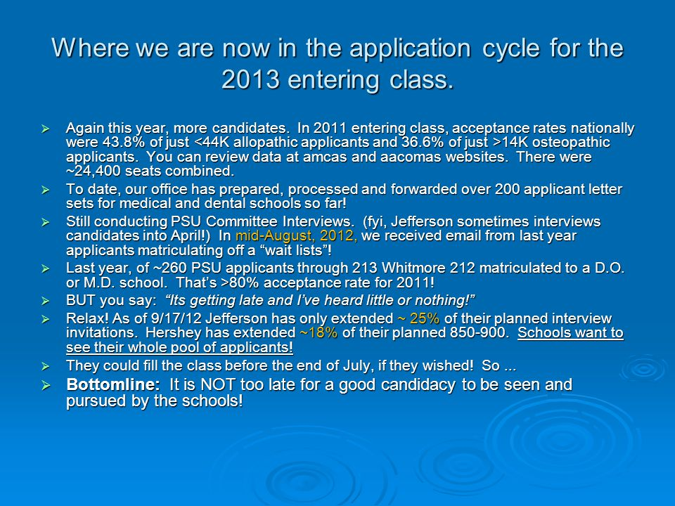 Where we are now in the application cycle for the 2013 entering class.