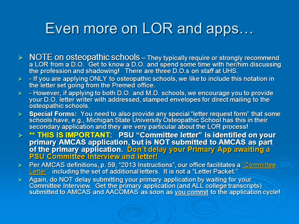 Even more on LOR and apps…