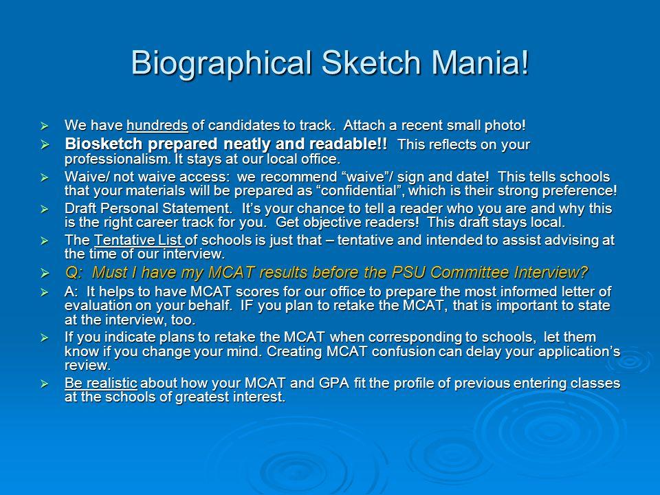 Biographical Sketch Mania!