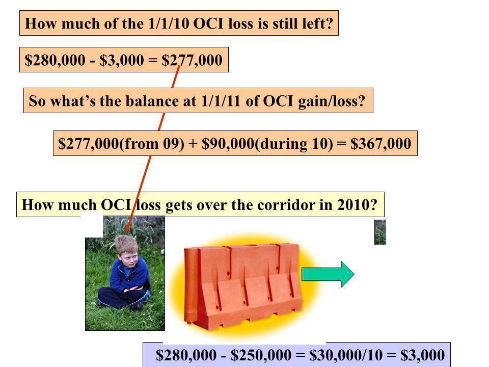 How much of the 1/1/10 OCI loss is still left