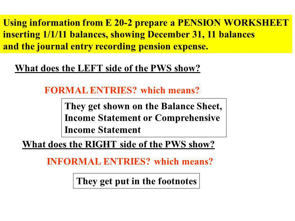 Using information from E 20-2 prepare a PENSION WORKSHEET